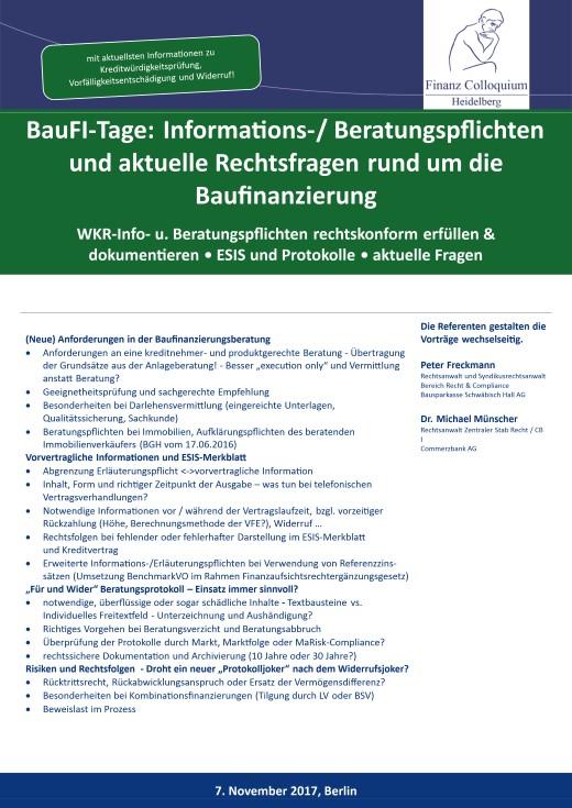 BauFITage Informations Beratungspflichten und aktuelle Rechtsfragen rund um die Baufinanzierung