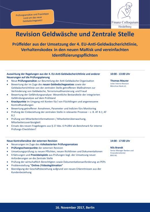 Revision Geldwaesche und Zentrale Stelle