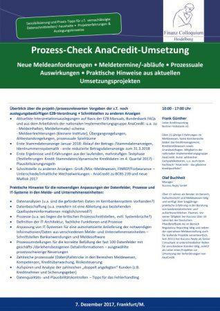ProzessCheck AnaCreditUmsetzung