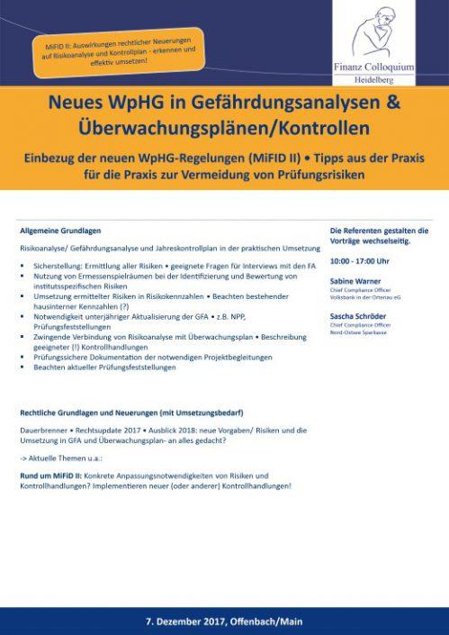 Neues WpHG in Gefaehrdungsanalysen UeberwachungsplaenenKontrollen
