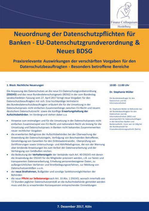 Neuordnung der Datenschutzpflichten fuer Banken EUDatenschutzgrundverordnung Neues BDSG