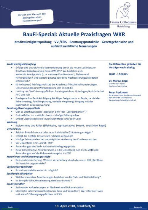 BauFiSpezial Aktuelle Praxisfragen WKR