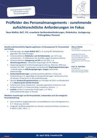 Prueffelder des Personalmanagements zunehmende aufsichtsrechtliche Anforderungen im Fokus