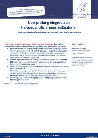 Ueberpruefung eingesetzter Risikoquantifizierungsmanahmen