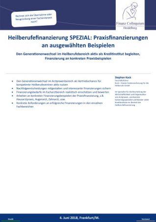 Heilberufefinanzierung SPEZIAL Praxisfinanzierungen an ausgewaehlten Beispielen