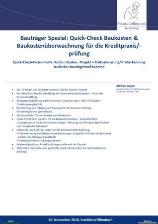Bautraeger Spezial QuickCheck Baukosten Baukostenueberwachnung fuer die Kreditpraxispruefung