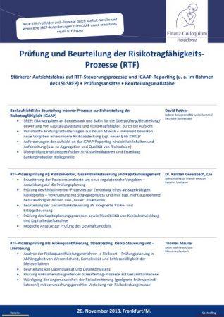 Pruefung und Beurteilung der RisikotragfaehigkeitsProzesse RTF