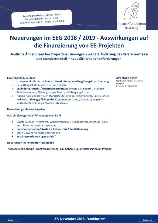 Neuerungen im EEG 2018 2019 Auswirkungen auf die Finanzierung von EEProjekten