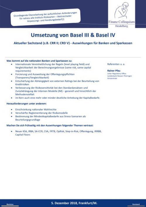 Umsetzung von Basel III Basel IV