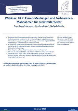 Webinar Fit in FinrepMeldungen und ForbearanceManahmen fuer Kreditmitarbeiter