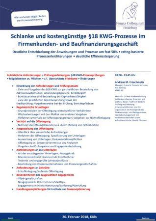 Schlanke und kostenguenstige 18 KWGProzesse im Firmenkunden und Baufinanzierungsgeschaeft
