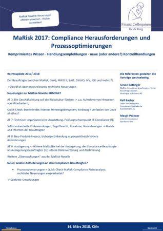 MaRisk 2017 Compliance Herausforderungen und Prozessoptimierungen