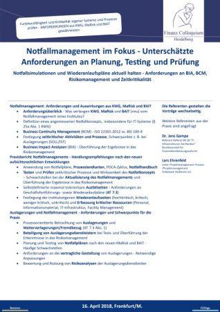Notfallmanagement im Fokus Unterschaetzte Anforderungen an Planung Testing und Pruefung