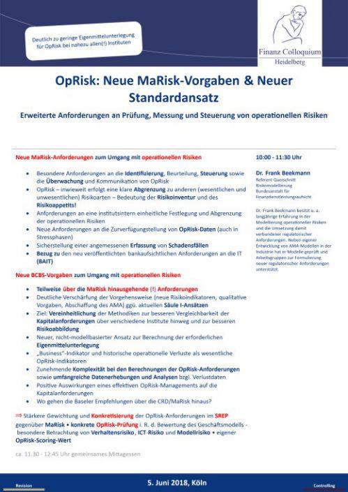 OpRisk Neue MaRiskVorgaben Neuer Standardansatz