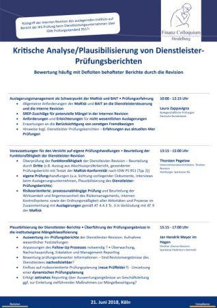 Kritische AnalysePlausibilisierung von DienstleisterPruefungsberichten
