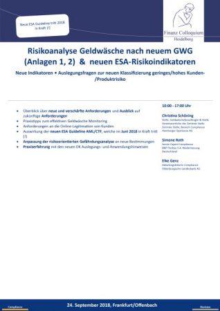 Risikoanalyse Geldwaesche nach neuem GWG Anlagen 1 2 neuen ESARisikoindikatoren