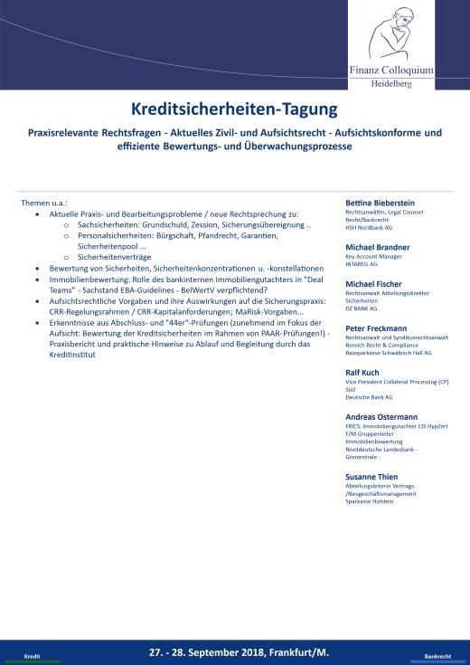 KreditsicherheitenTagung  Finanz Colloquium Heidelberg