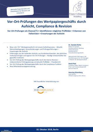 VorOrtPruefungen des Wertpapiergeschaefts durch Aufsicht Compliance Revision