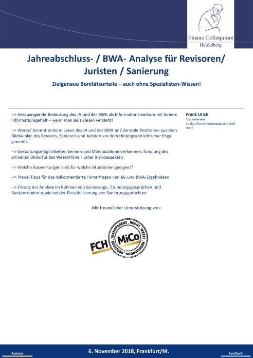 Jahreabschluss BWA Analyse fuer Revisoren Juristen Sanierung