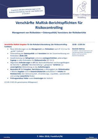 Verschaerfte MaRiskBerichtspflichten fuer Risikocontrolling