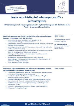 Neue verschaerfte Anforderungen an IDV Zentralregister