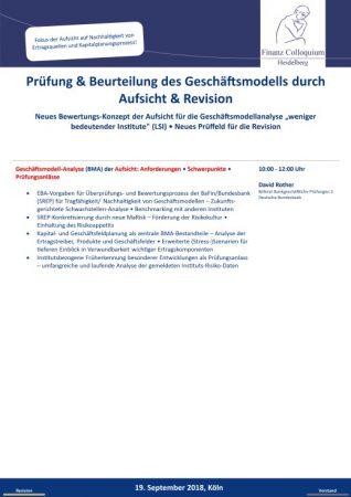 Pruefung Beurteilung des Geschaeftsmodells durch Aufsicht Revision