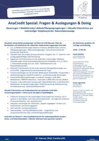 AnaCredit Spezial Fragen Auslegungen Doing