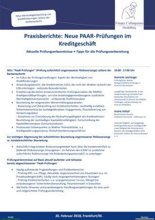 Praxisberichte Neue PAARPruefungen im Kreditgeschaeft