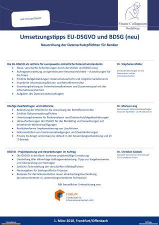 Umsetzungstipps EUDSGVO und BDSG neu