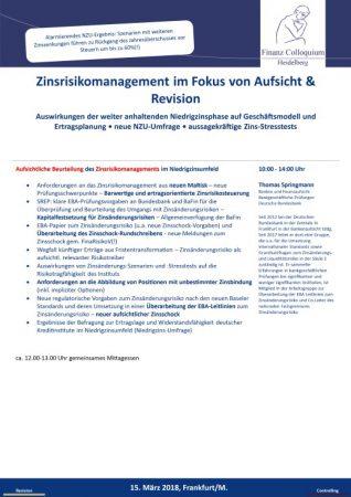 Zinsrisikomanagement im Fokus von Aufsicht Revision