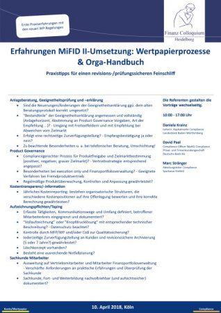 Erfahrungen MiFID IIUmsetzung Wertpapierprozesse OrgaHandbuch