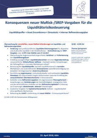 Konsequenzen neuer MaRiskSREPVorgaben fuer die Liquiditaetsrisikosteuerung