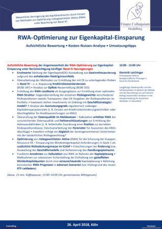 RWAOptimierung zur EigenkapitalEinsparung