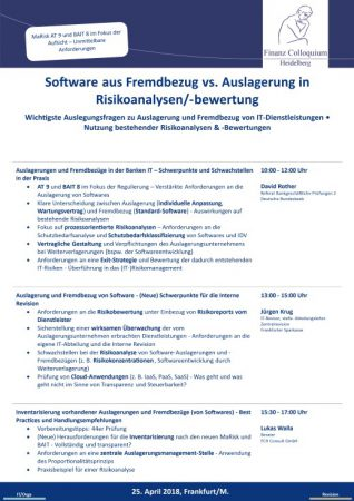 Software aus Fremdbezug vs Auslagerung in Risikoanalysenbewertung