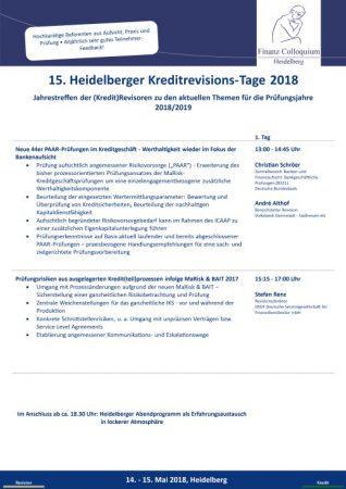 15 Heidelberger KreditrevisionsTage 2018