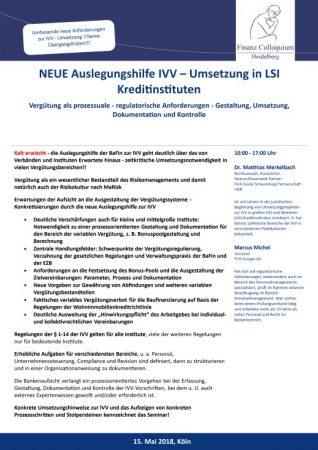 NEUE Auslegungshilfe IVV Umsetzung in LSI Kreditinstituten