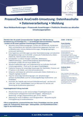ProzessCheck AnaCreditUmsetzung Datenhaushalte Datenverarbeitung Meldung