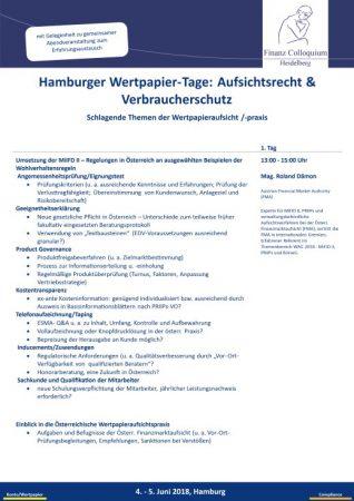 Hamburger WertpapierTage Aufsichtsrecht Verbraucherschutz