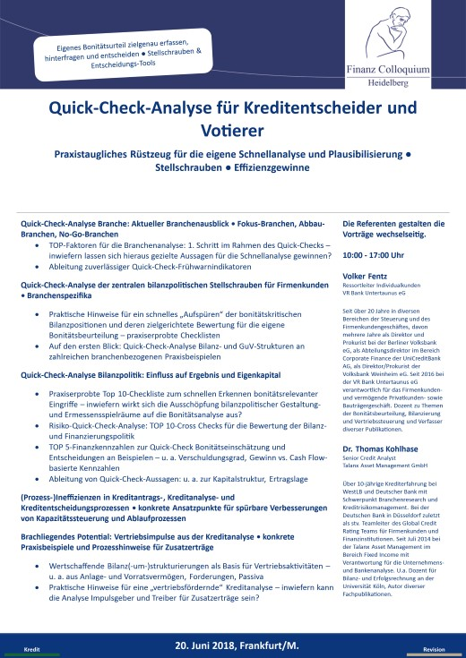 QuickCheckAnalyse fuer Kreditentscheider und Votierer