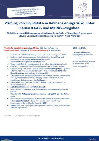 Pruefung von Liquiditaets Refinanzierungsrisiko unter neuen ILAAP und MaRiskVorgaben