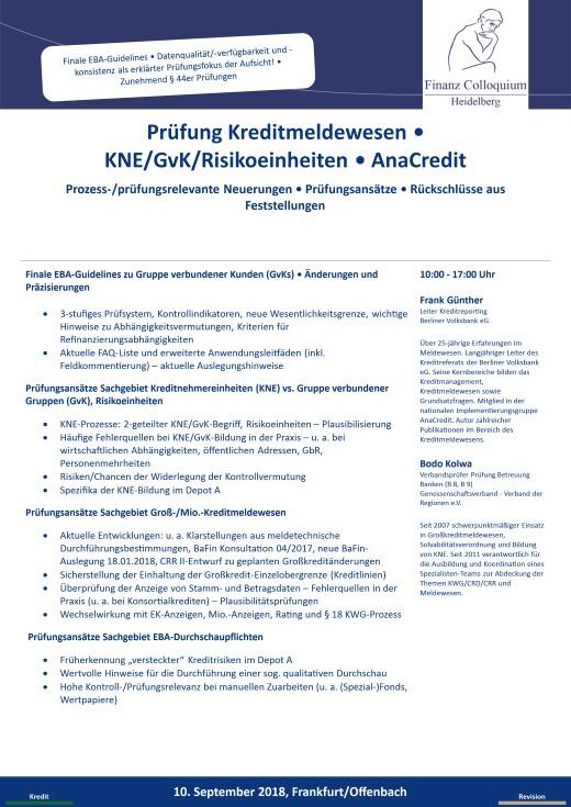 Pruefung Kreditmeldewesen KNEGvKRisikoeinheiten AnaCredit