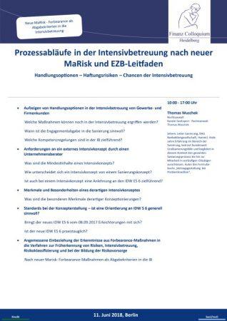 Prozessablaeufe in der Intensivbetreuung nach neuer MaRisk und EZBLeitfaden