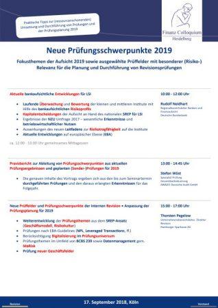 Neue Pruefungsschwerpunkte 2019