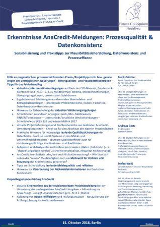 Erkenntnisse AnaCreditMeldungen Prozessqualitaet Datenkonsistenz