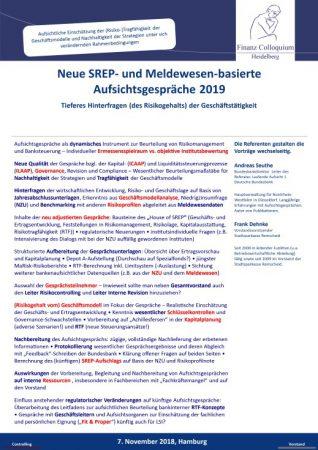 Neue SREP und Meldewesenbasierte Aufsichtsgespraeche 2019