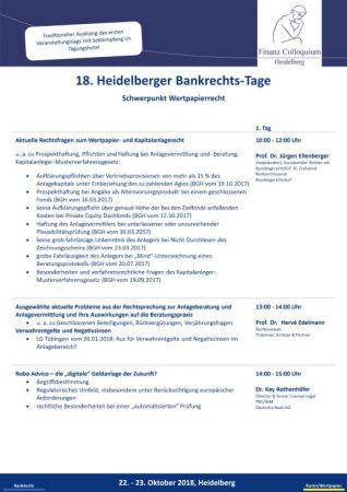 18 Heidelberger BankrechtsTage