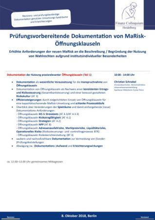 Pruefungsvorbereitende Dokumentation von MaRiskOeffnungsklauseln