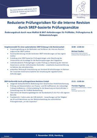 Reduzierte Pruefungsrisiken fuer die Interne Revision durch SREPbasierte Pruefungsansaetze