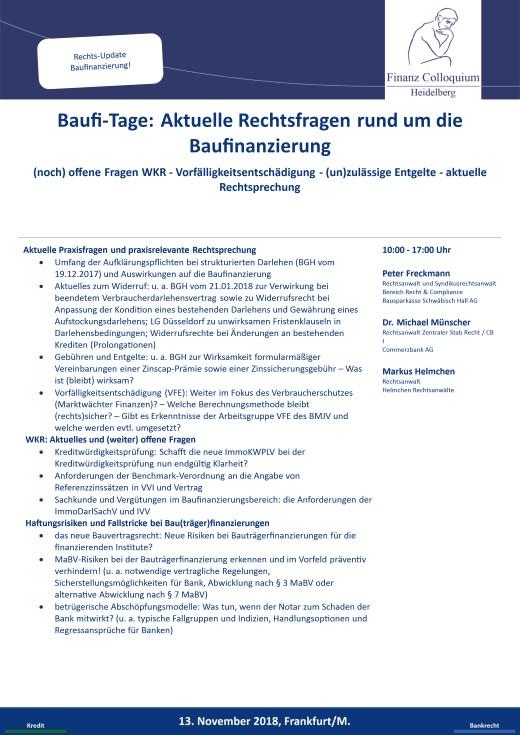 BaufiTage Aktuelle Rechtsfragen rund um die Baufinanzierung