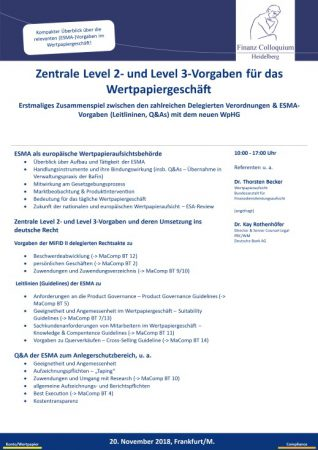 Zentrale Level 2 und Level 3Vorgaben fuer das Wertpapiergeschaeft